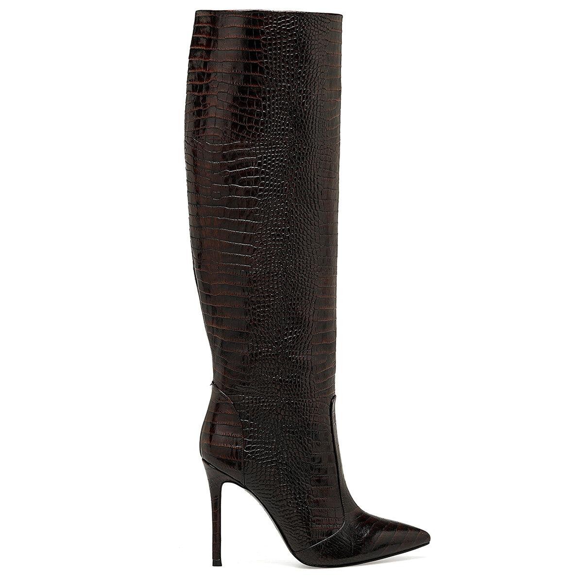 TERO Kahverengi Kadın Topuklu Çizme