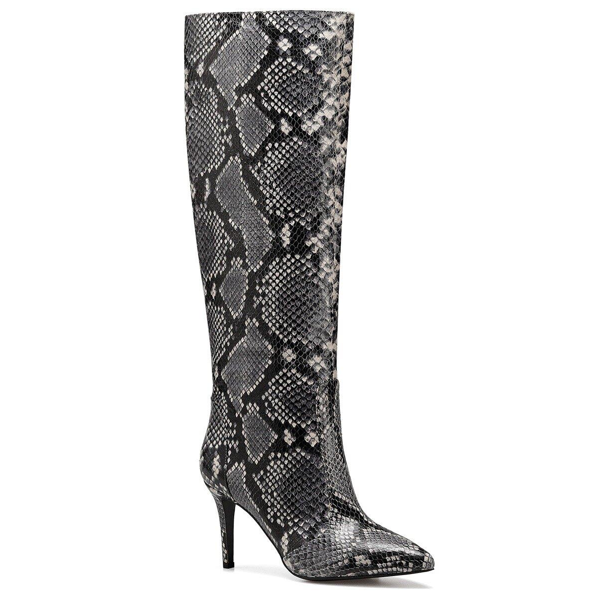 TERRA Gri Kadın Topuklu Çizme