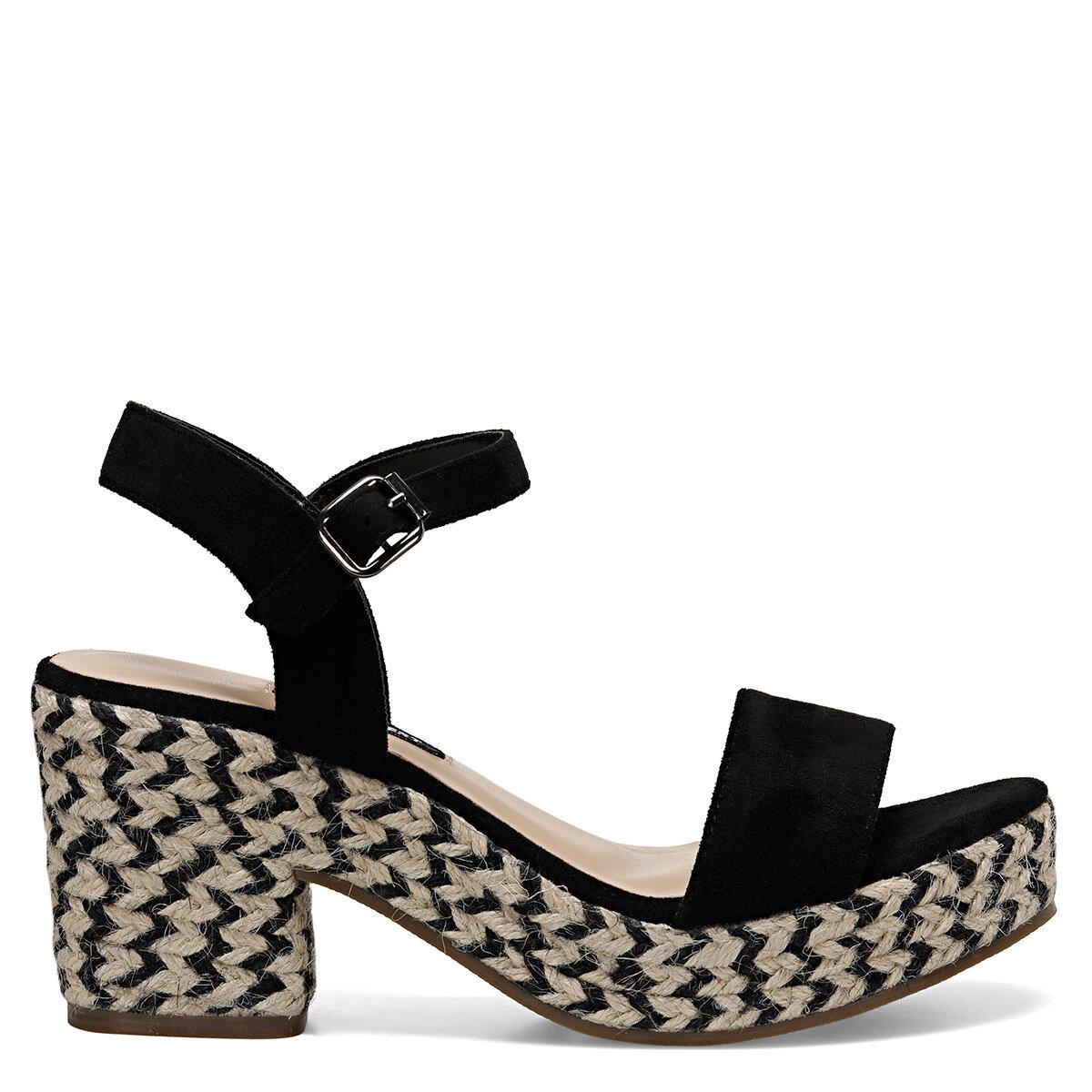 NORINA Siyah Kadın Dolgu Topuklu Sandalet