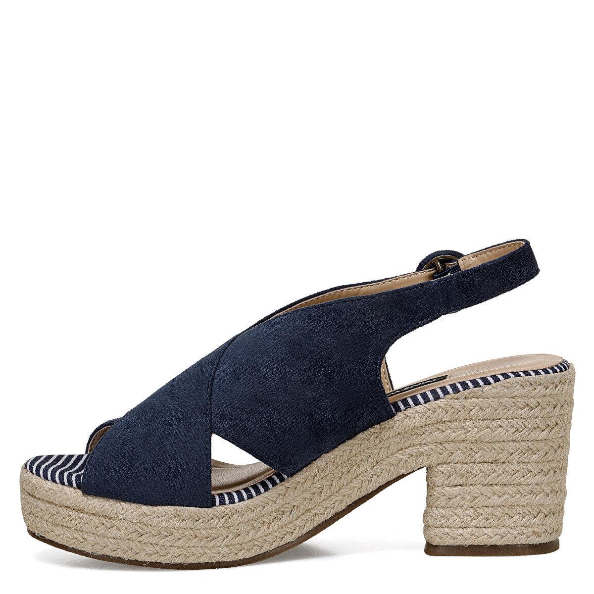 NORMINA Lacivert Kadın Dolgu Topuklu Sandalet