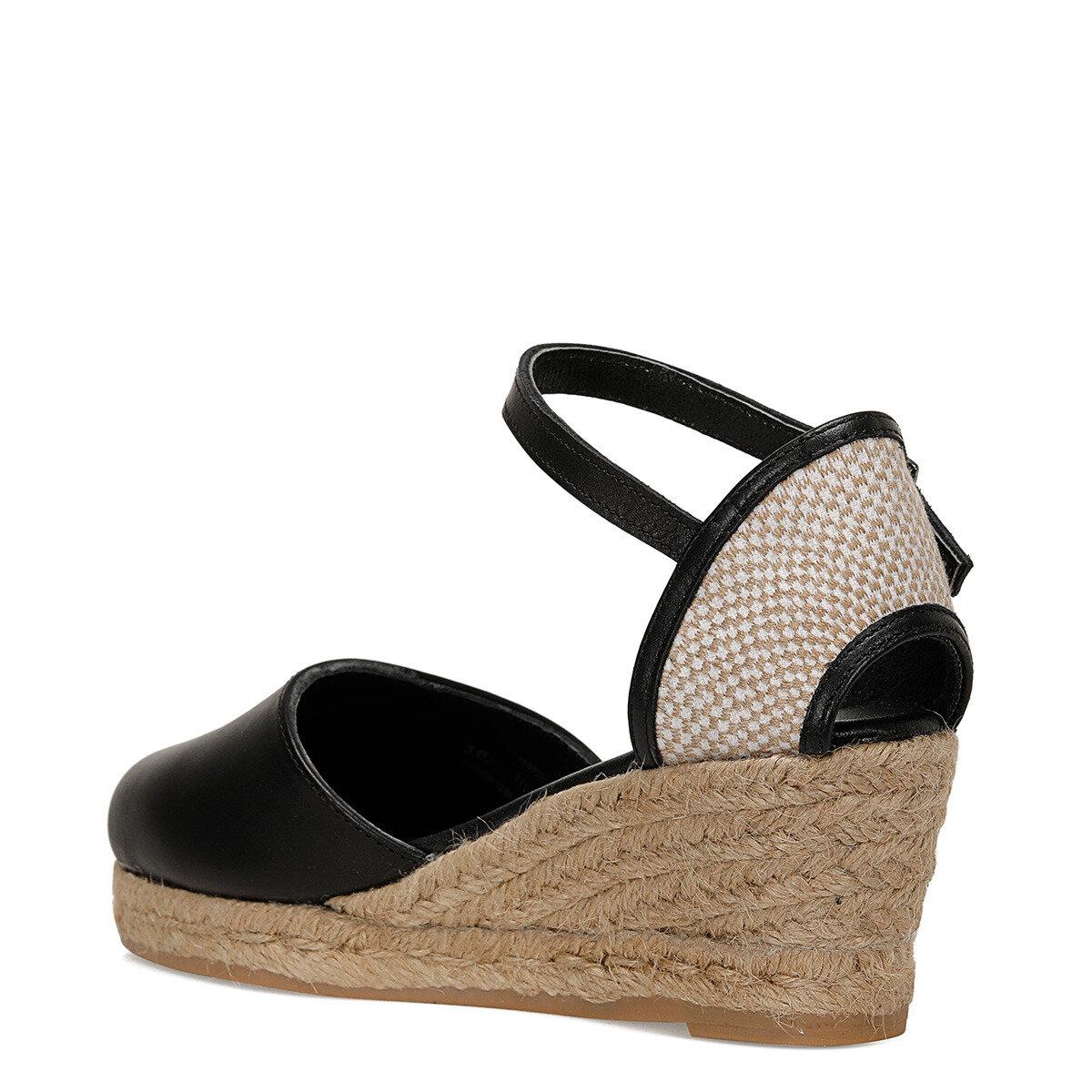 FRIDA Siyah Kadın Dolgu Topuklu Sandalet
