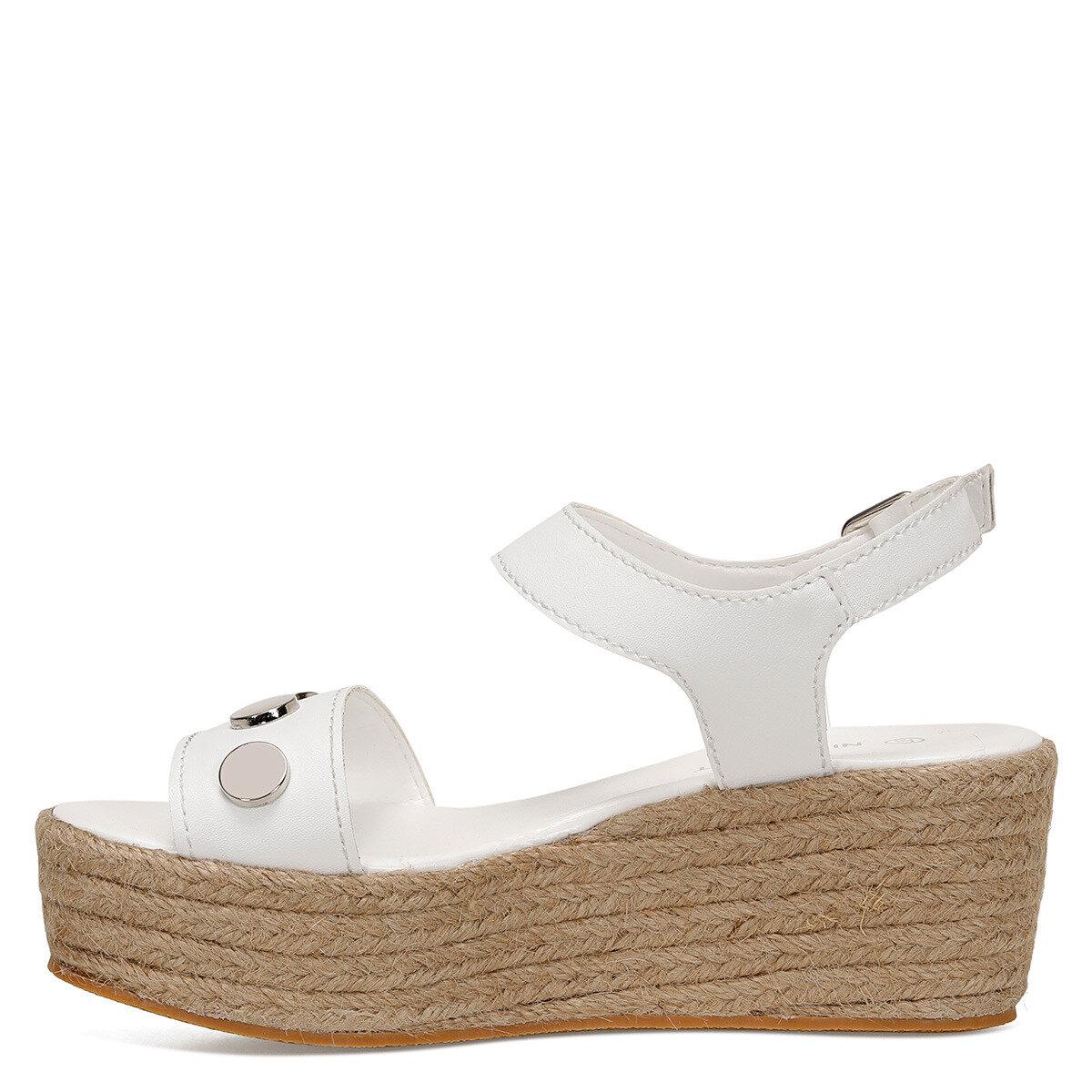 VALADON Beyaz Kadın Dolgu Topuklu Sandalet
