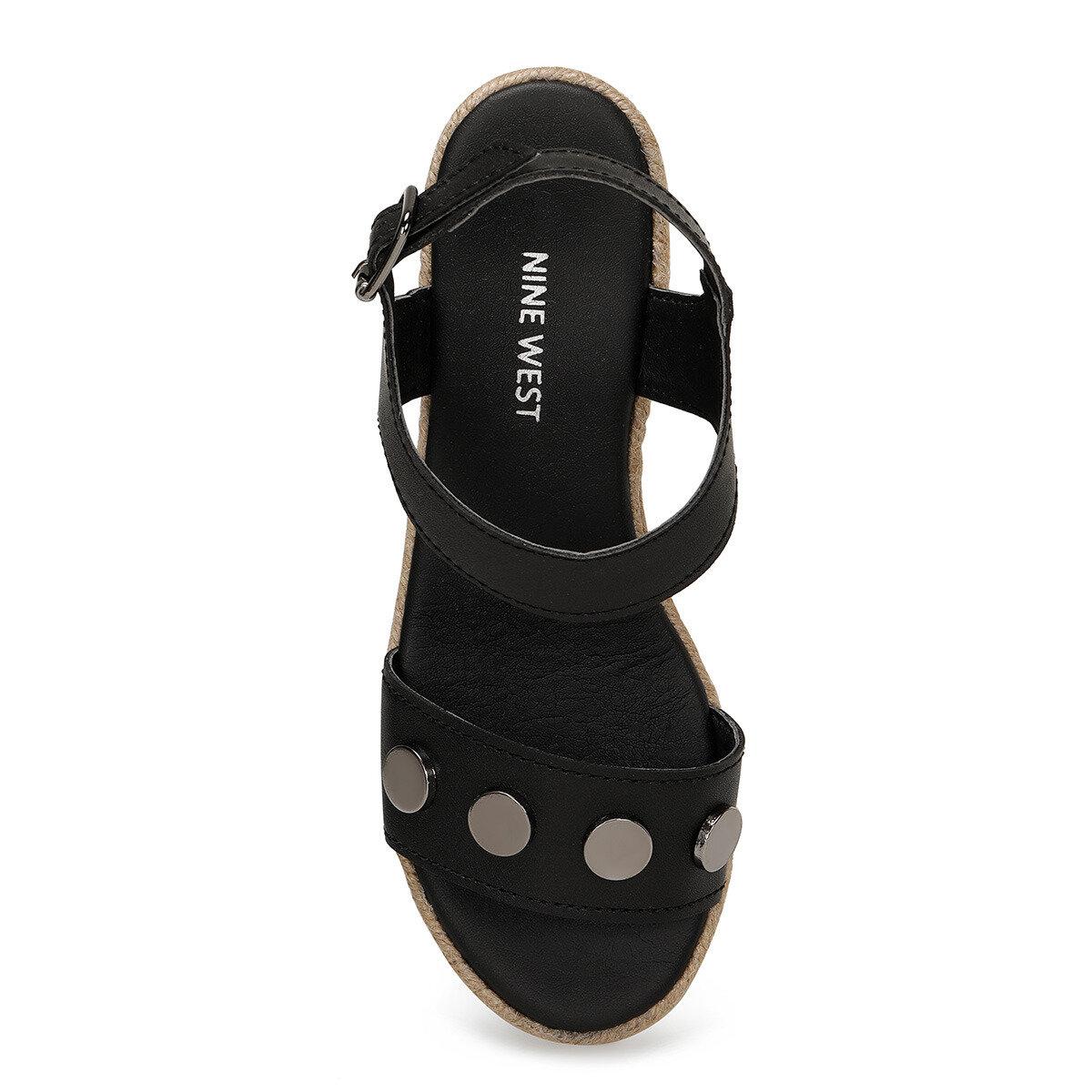 VALADON Siyah Kadın Dolgu Topuklu Sandalet