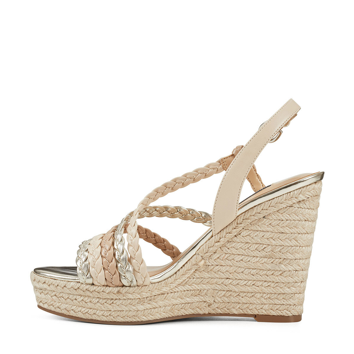 HALSEE3 Altın Kadın Dolgu Topuk Ayakkabı