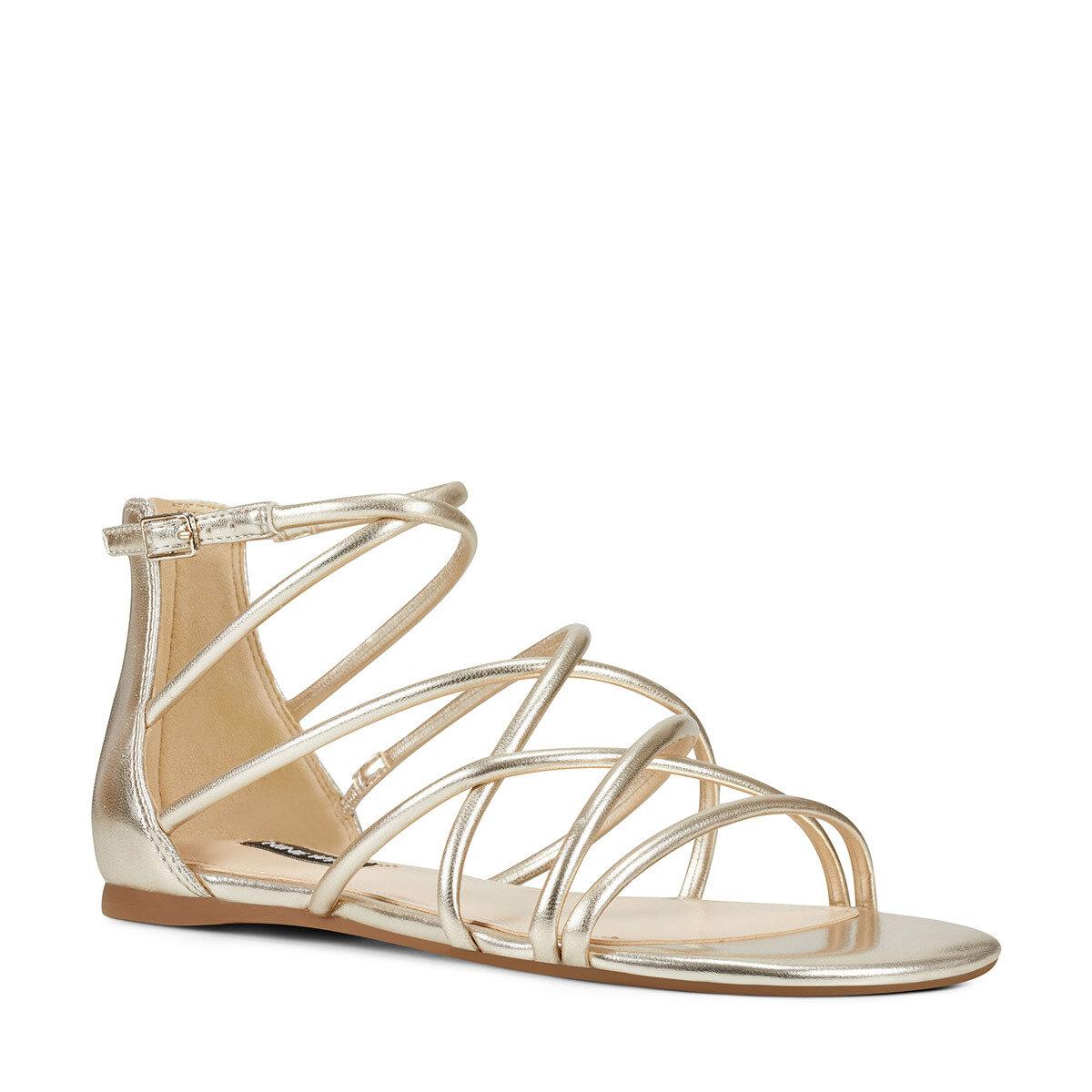 WHISPER3 Altın Kadın Düz Sandalet