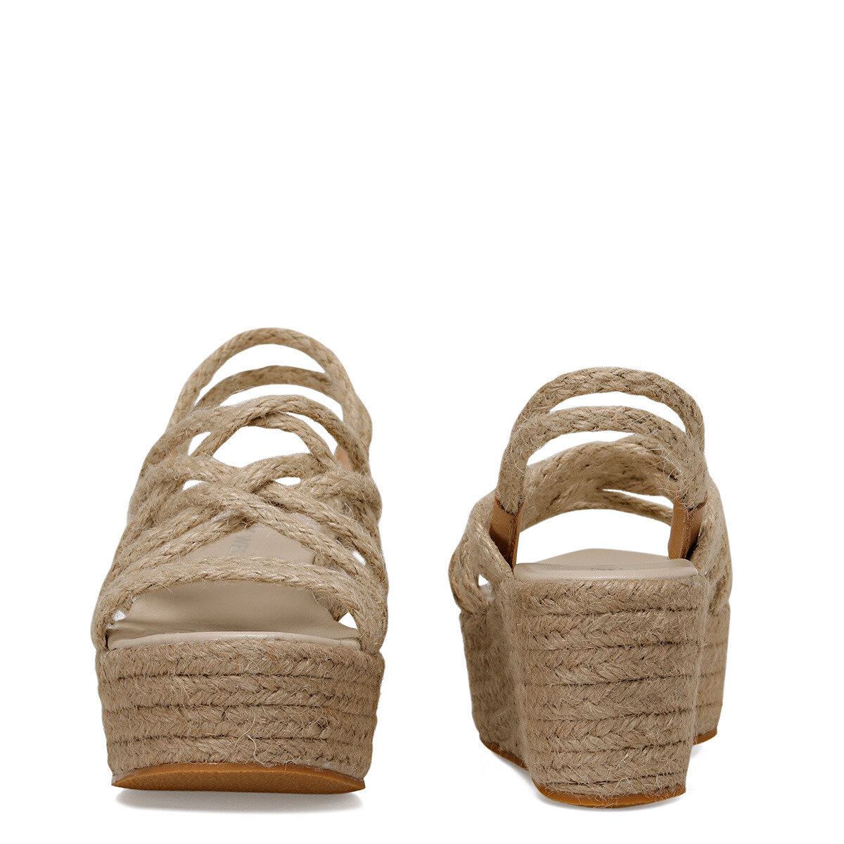 GEORGIA Naturel Kadın Dolgu Topuklu Sandalet