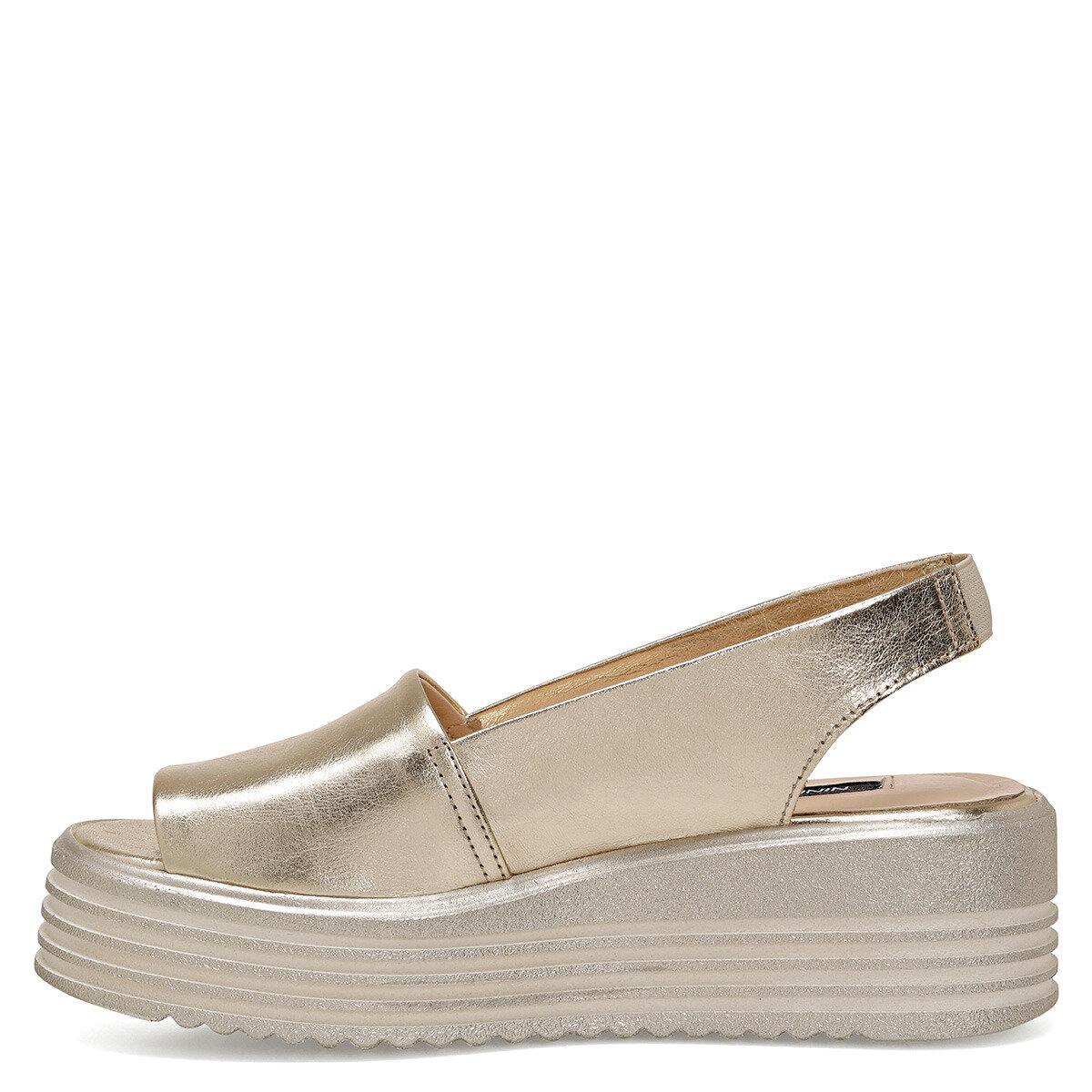 KADIE Altın Kadın Dolgu Topuklu Sandalet