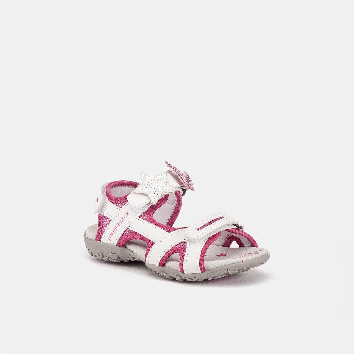 LINDA WHITE/FUXIA Girl Sandals