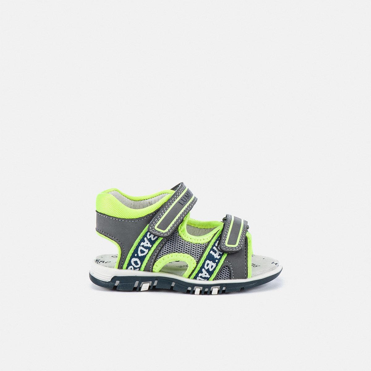 BILLY GREY/ACID GREEN Boy Sandals