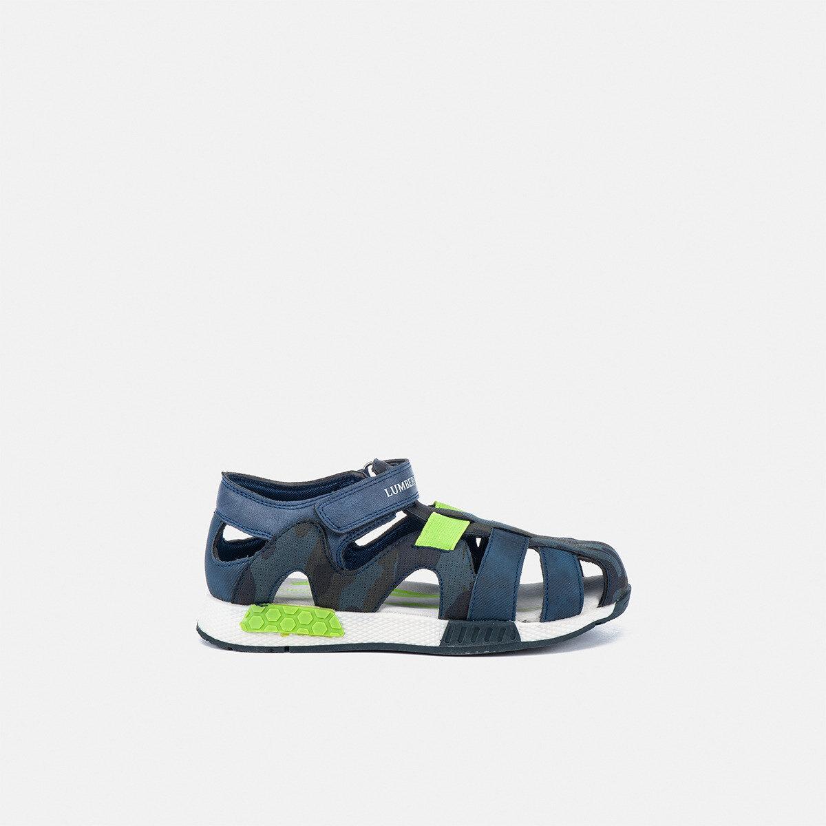 CORSY NAVY BLUE/ACID GREEN Boy Sandals