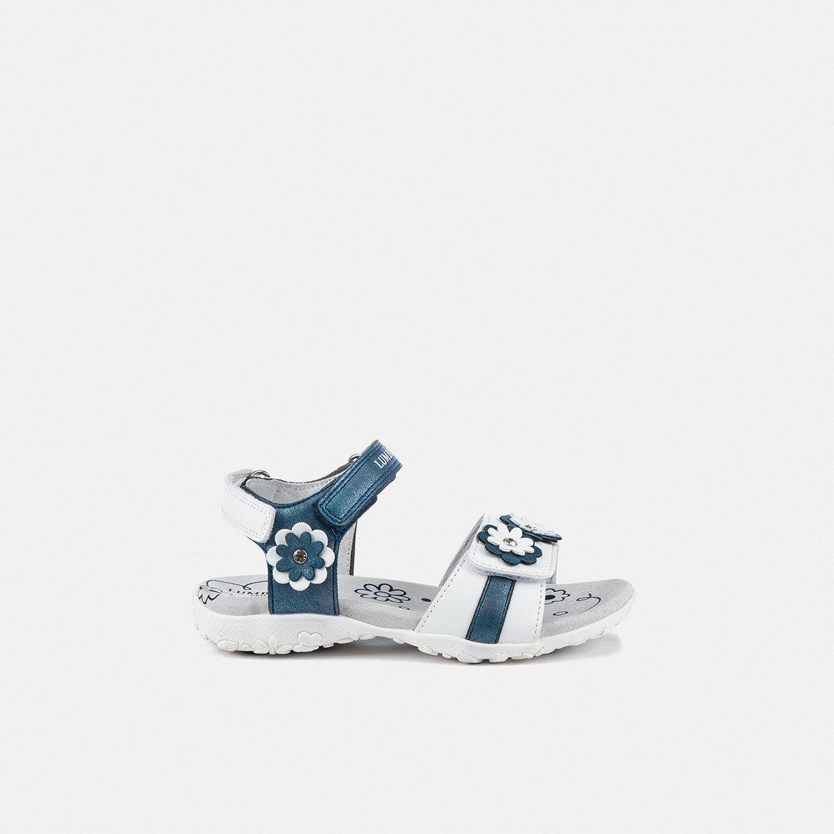 LINDA WHITE/NAVY BLUE Girl Sandals