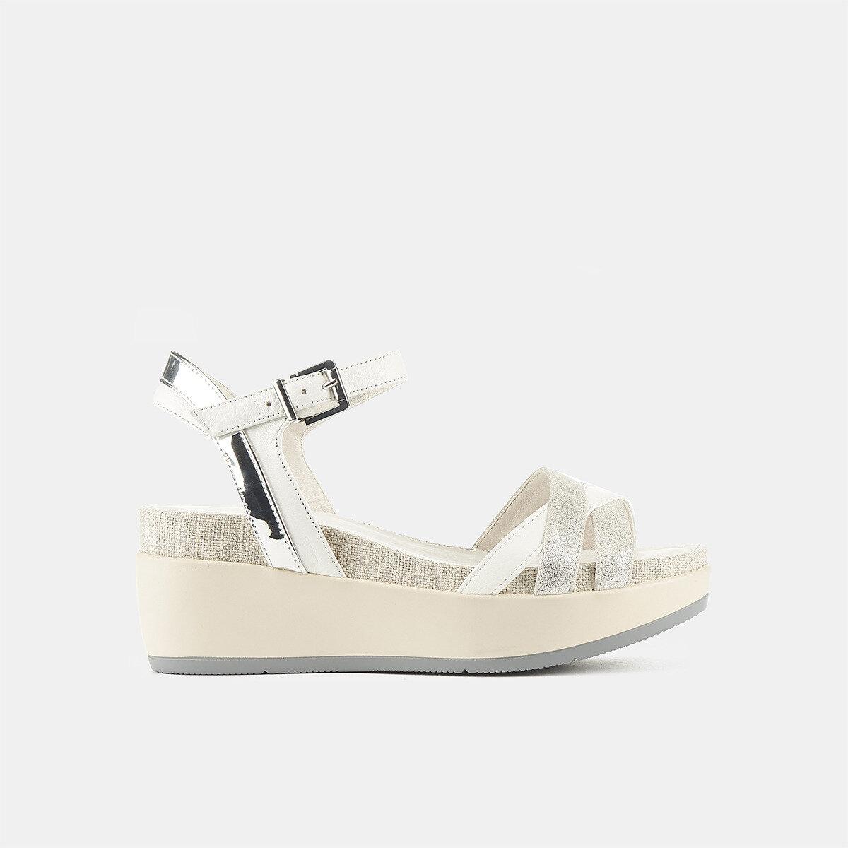 BLANCHE WHITE/SILVER Woman Sandals