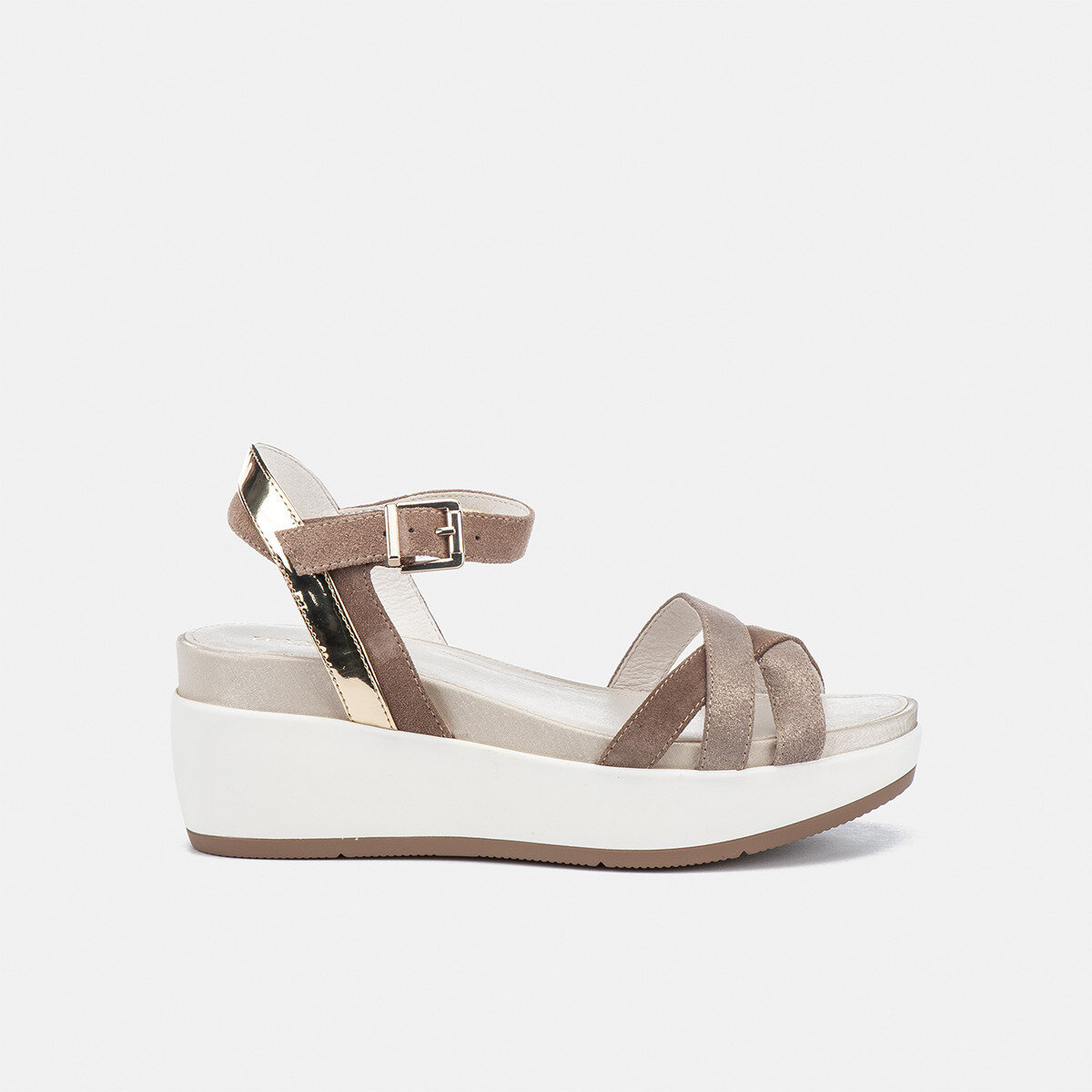 BLANCHE TAUPE/GOLD METAL Woman Sandals
