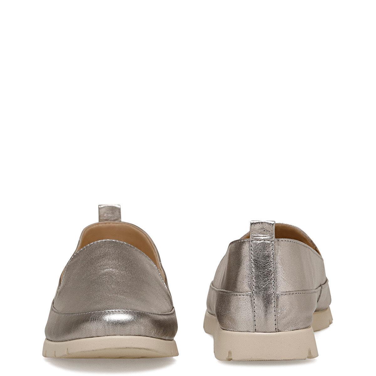BASI2 Metalik Gri Kadın Loafer