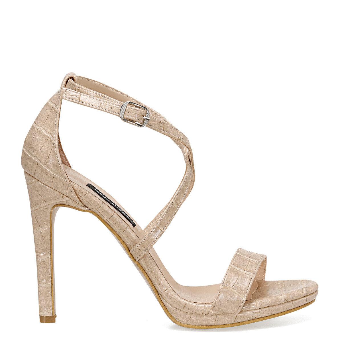 CELAN2 Krem Kadın Topuklu Sandalet