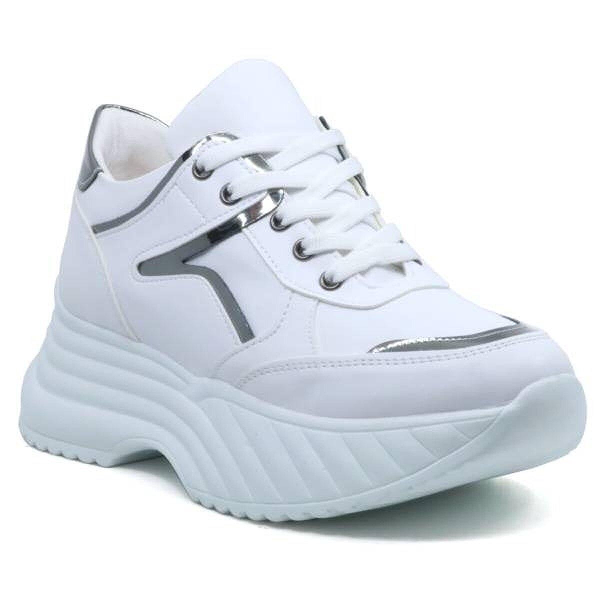Modalite Net Flo Filla Yuksek Taban Dolgu Taban Kadin Spor Ayakkabi Beyaz Gumus