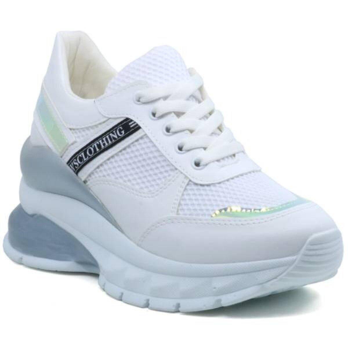 Modalite Net Flo Filla Yuksek Taban Dolgu Taban Kadin Spor Ayakkabi Yazili Beyaz
