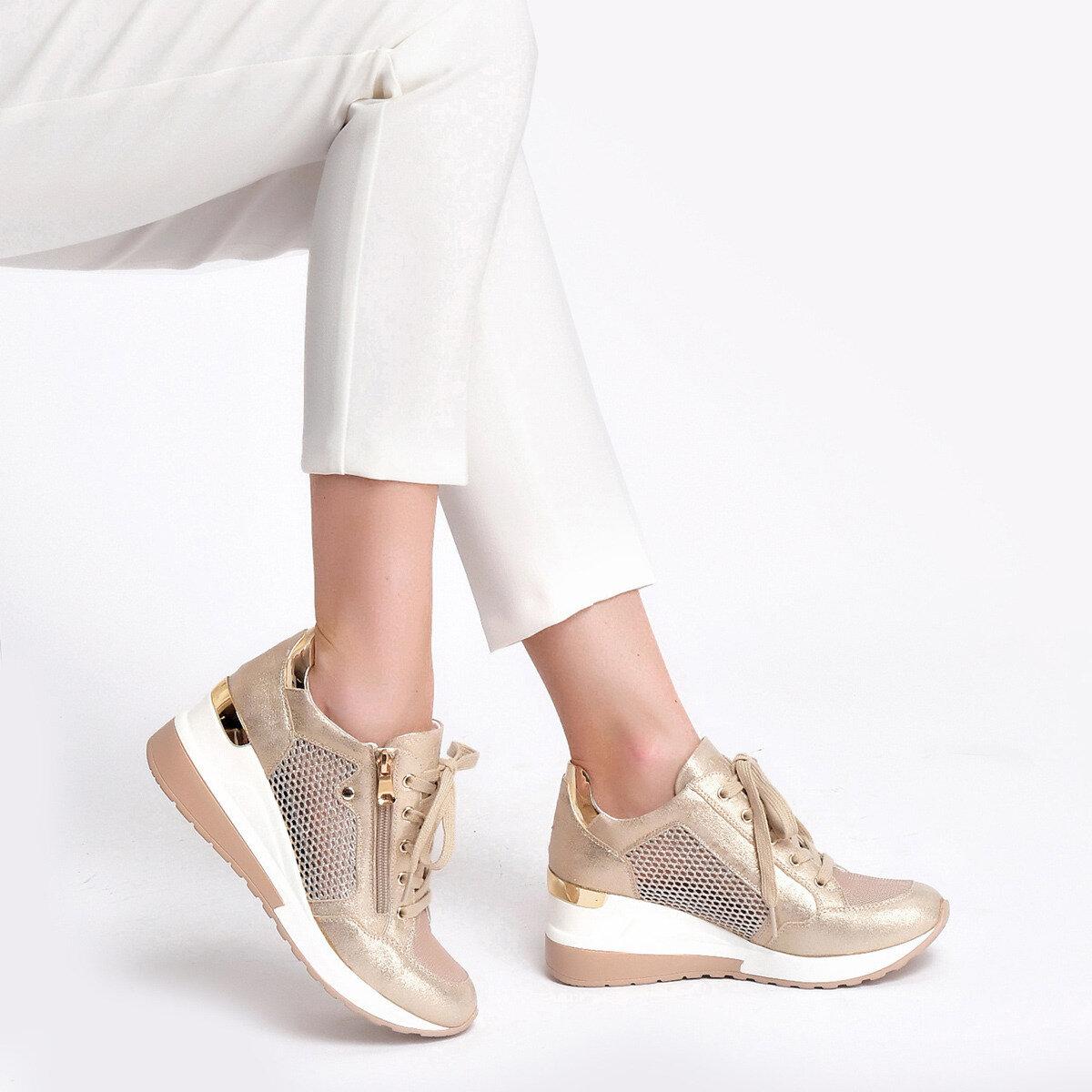 RANA Altın Kadın Dolgu Topuk Ayakkabı