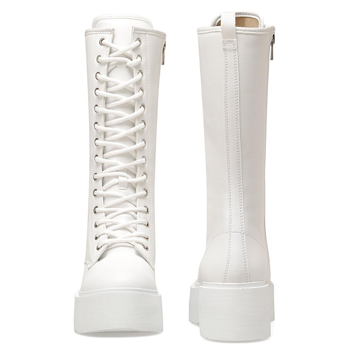 RODIN Beyaz Kadın Düz Çizme