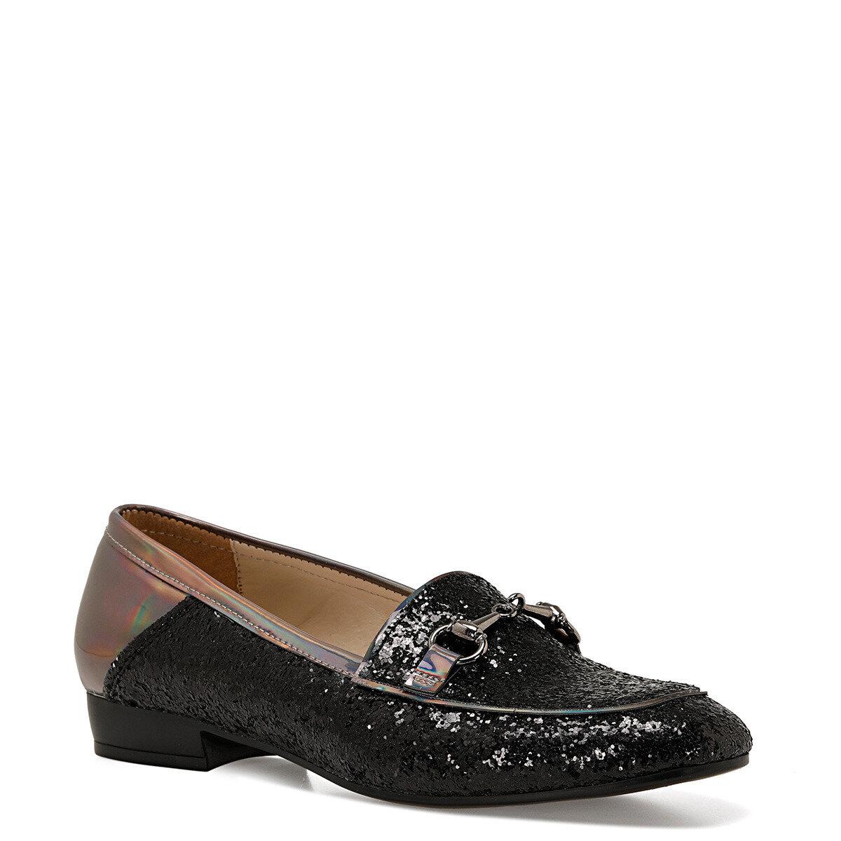 FURY Siyah Kadın Loafer Ayakkabı