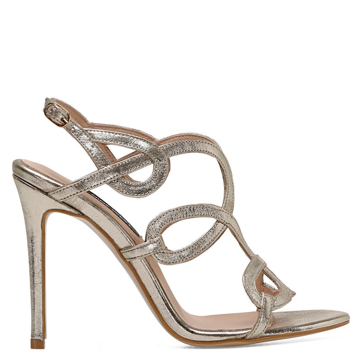 TONA Altın Kadın Topuklu Sandalet