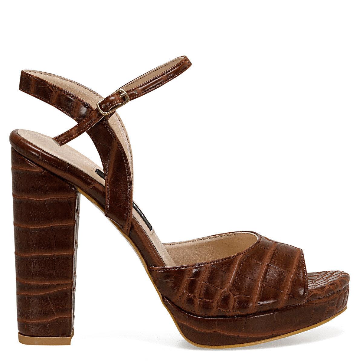 CENDO Kahverengi Kadın Topuklu Sandalet