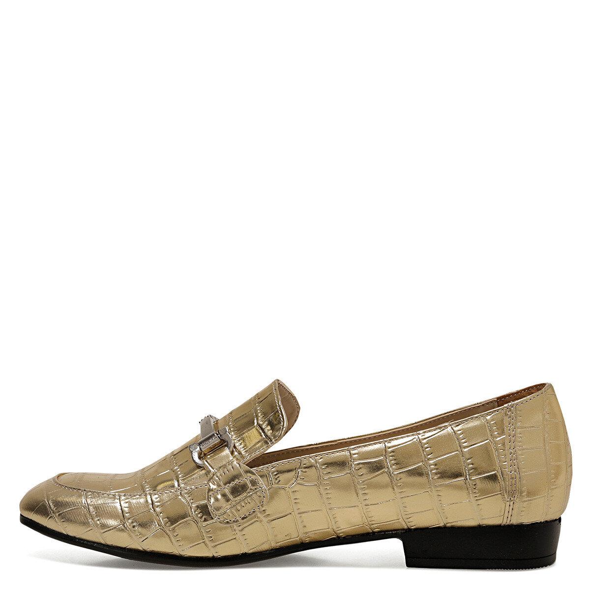 KOMI Altın Kadın Loafer Ayakkabı