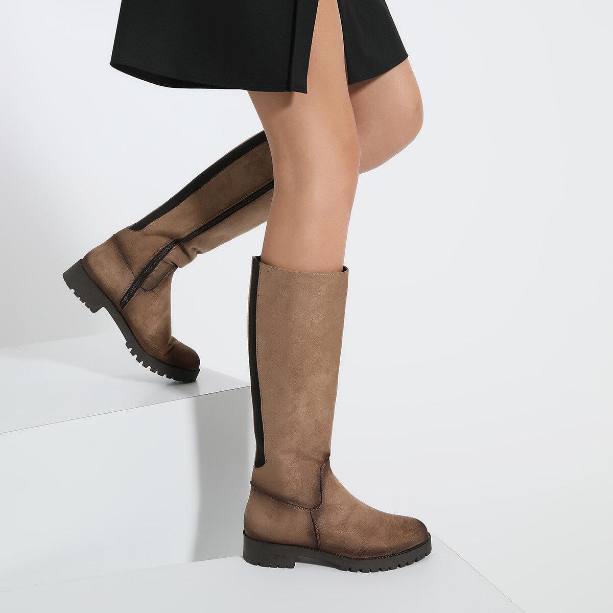 KORLE Vizon Kadın Düz Çizme