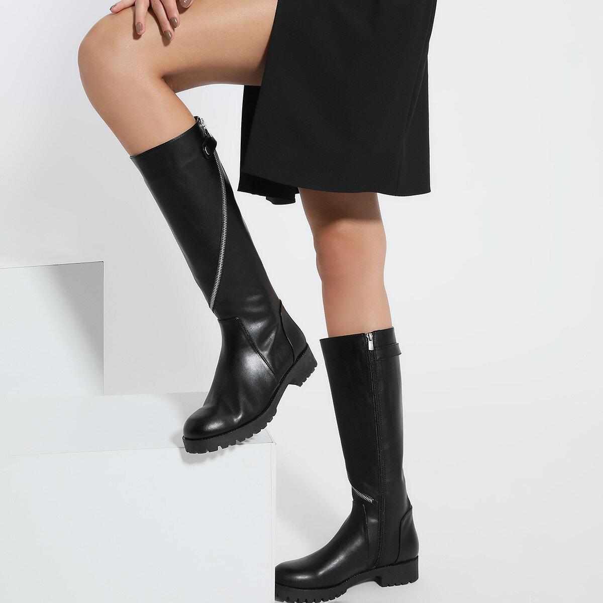 CERIO Siyah Kadın Düz Çizme