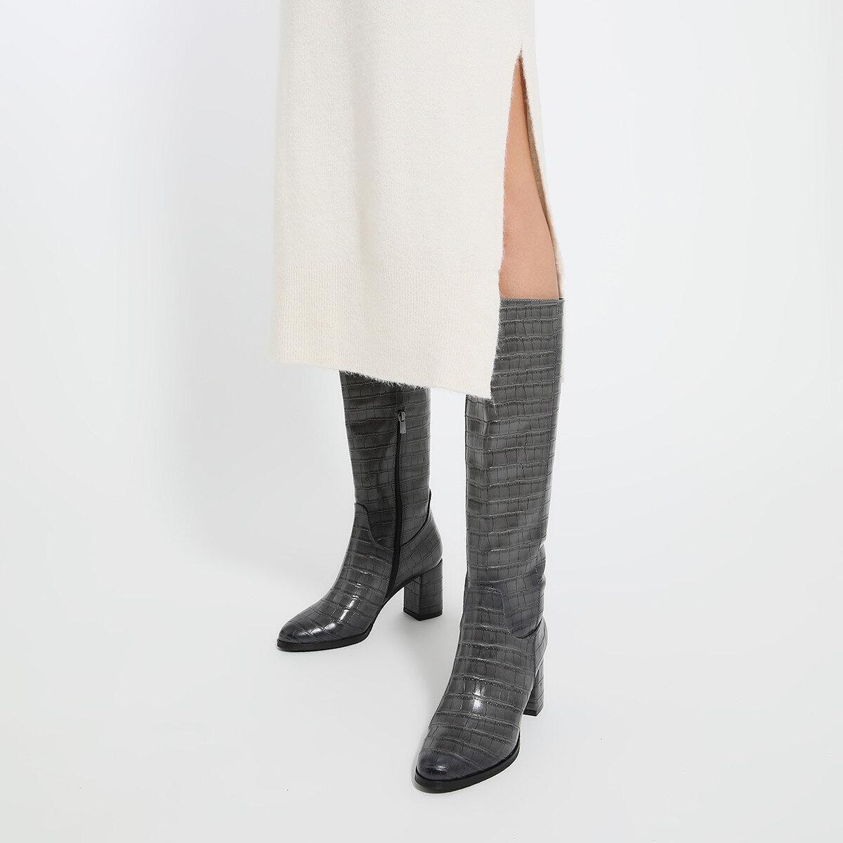 MASSA Gri Kadın Topuklu Çizme