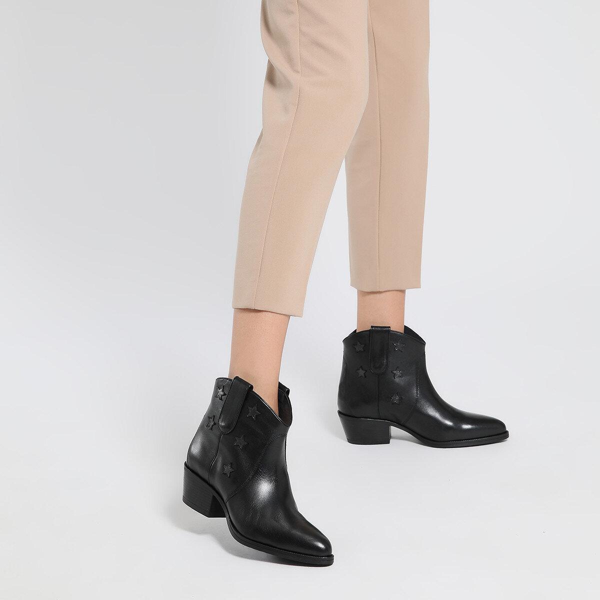 CUHAV Siyah Kadın Topuklu Bot