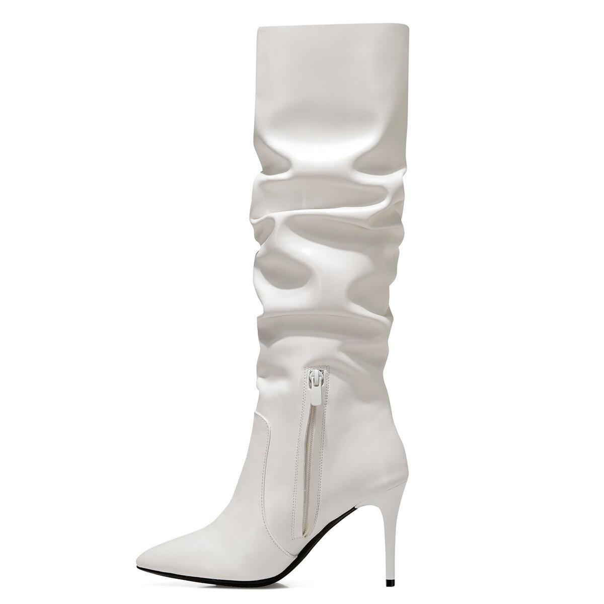 PINTO Beyaz Kadın Topuklu Çizme