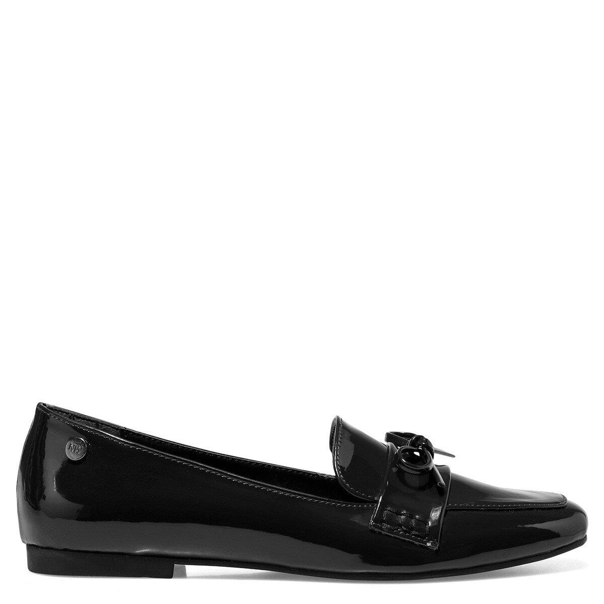 KUNET Siyah Kadın Loafer Ayakkabı