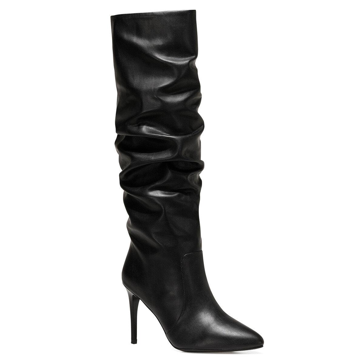 PINTO Siyah Kadın Topuklu Çizme