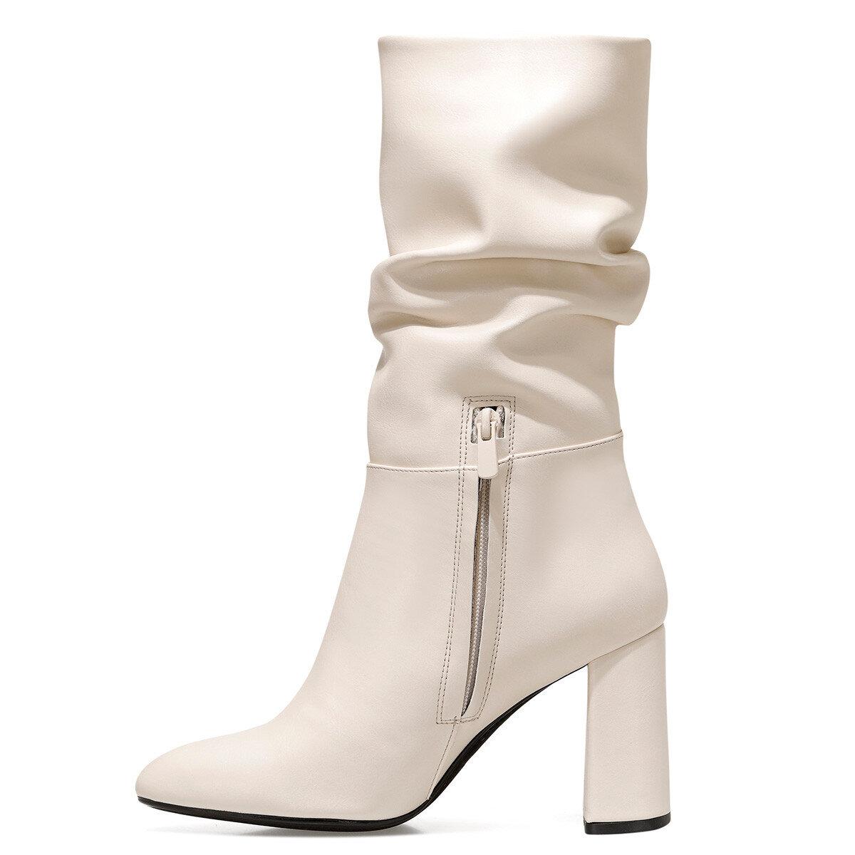 UMBRIA Krem Kadın Topuklu Çizme