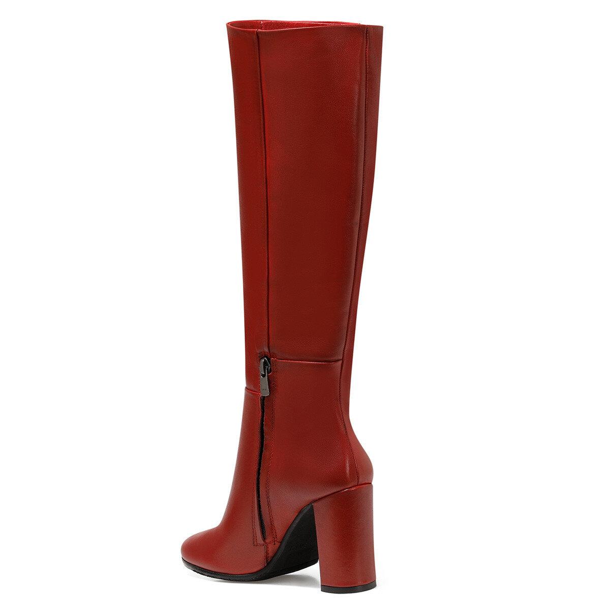 PRILLI Kırmızı Kadın Ökçeli Çizme