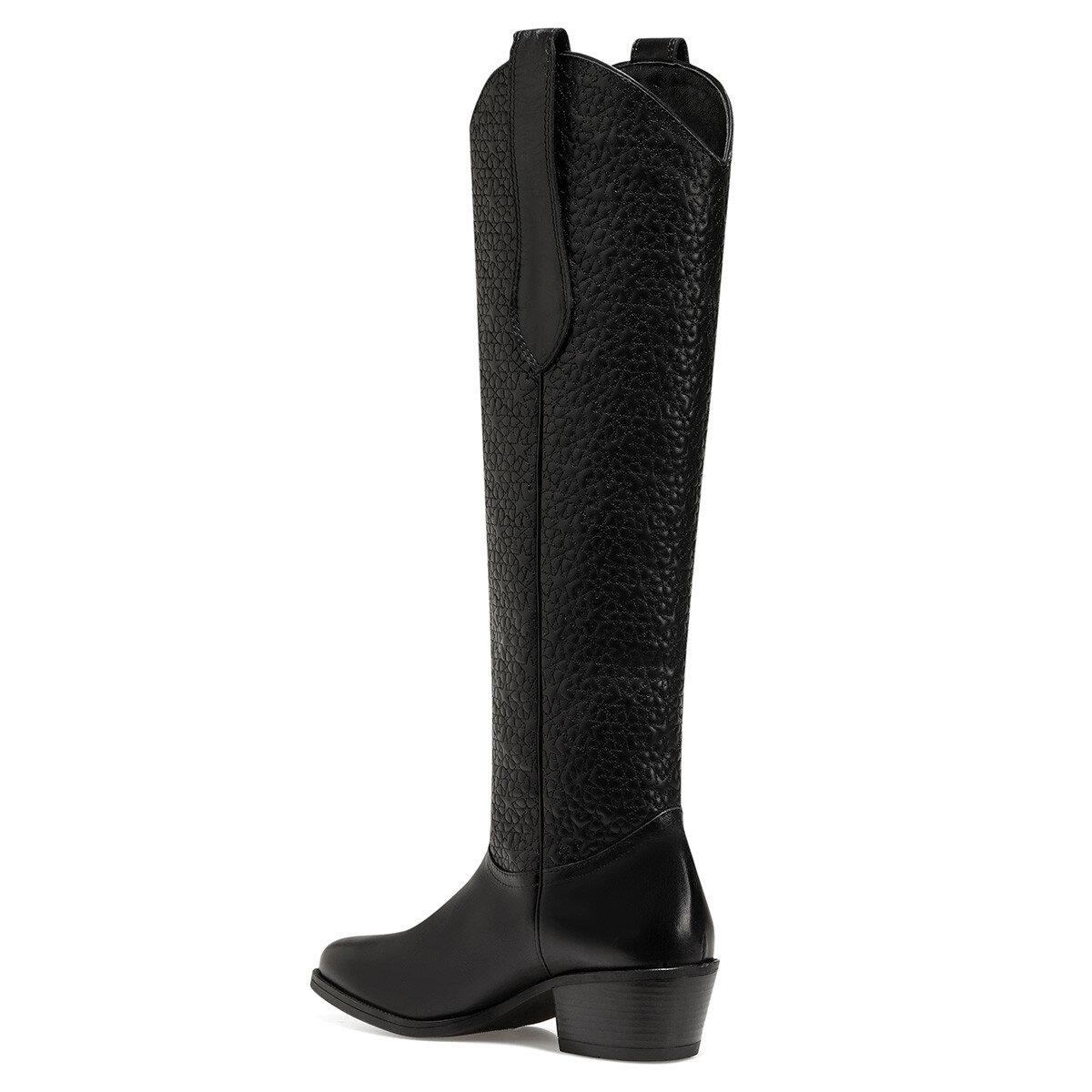 AUDREY Siyah Kadın Topuklu Çizme