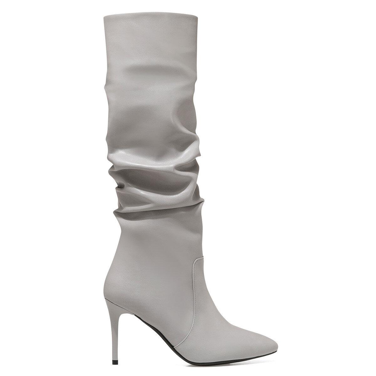 PINTO Gri Kadın Topuklu Çizme