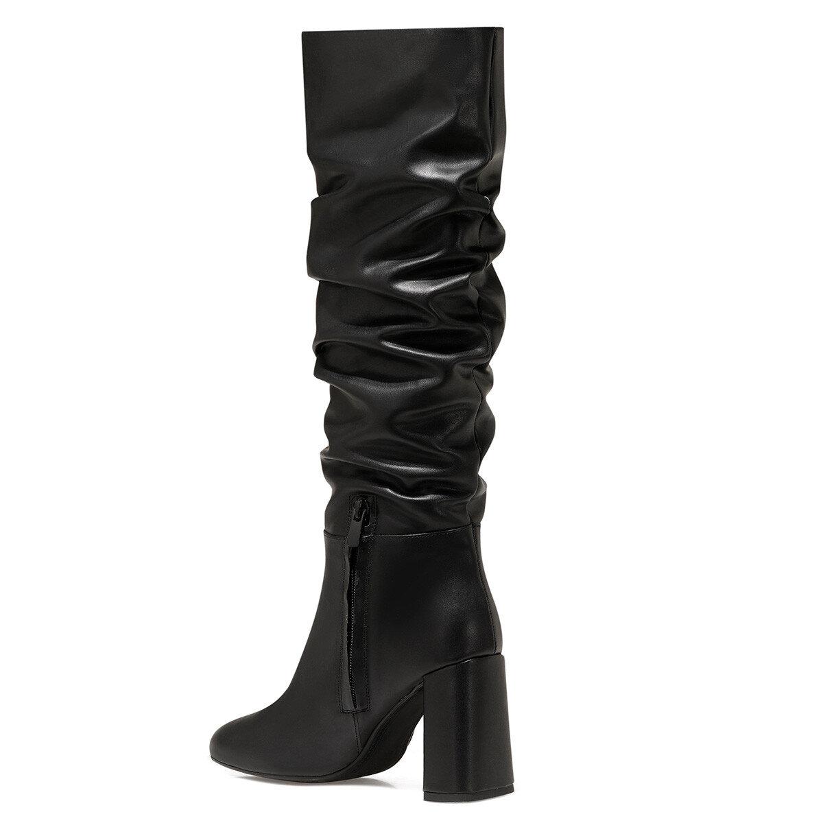 SORAMA Siyah Kadın Topuklu Çizme