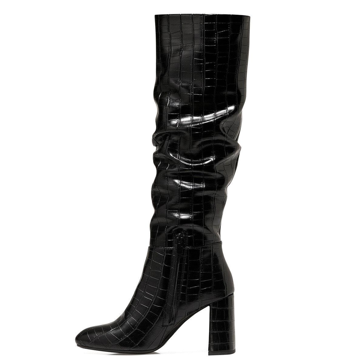 STELIO Siyah Kadın Topuklu Çizme