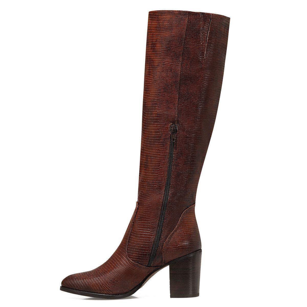 LULU Koyu Kahve Kadın Topuklu Çizme