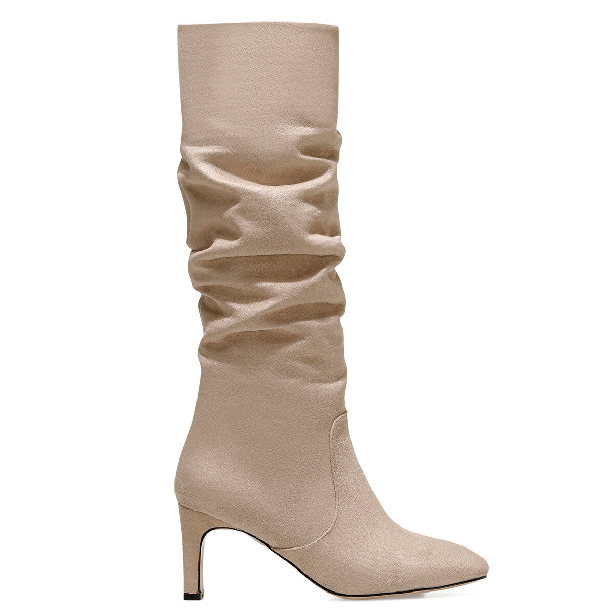 CAMOSA Bej Kadın Topuklu Çizme