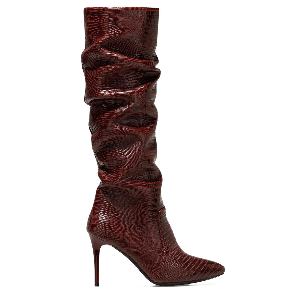 SISSO Bordo Kadın Topuklu Çizme