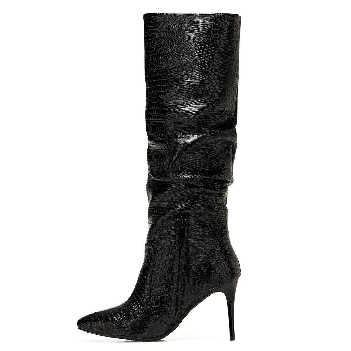 SISSO Siyah Kadın Topuklu Çizme