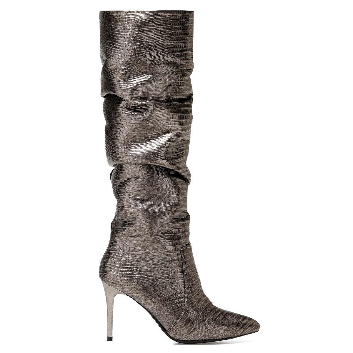SISSO2 Antrasit Kadın Topuklu Çizme