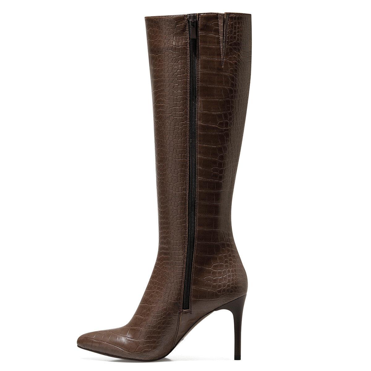 KAREN-CR Kahverengi Kadın Topuklu Çizme