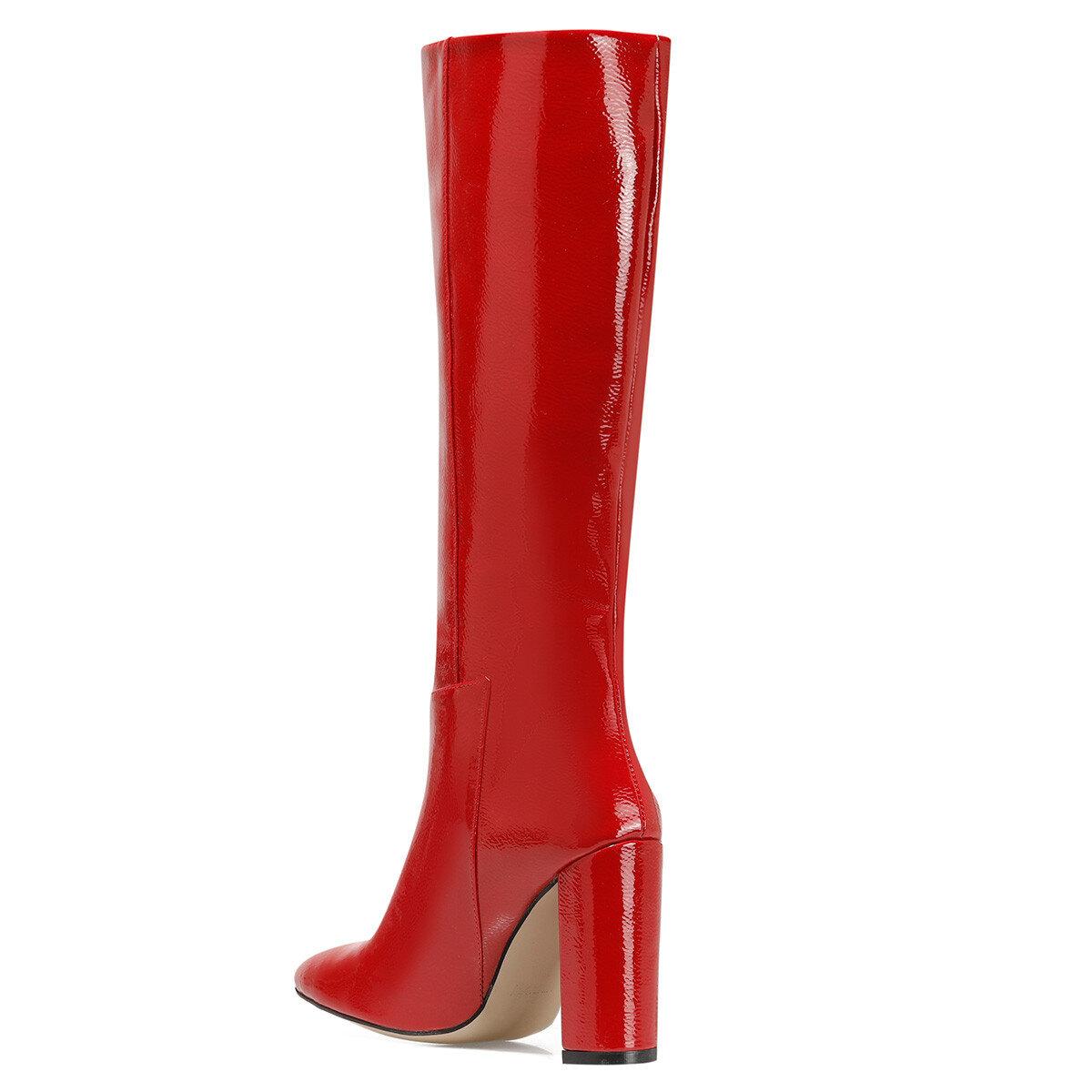 MIMA Kırmızı Kadın Ökçeli Çizme