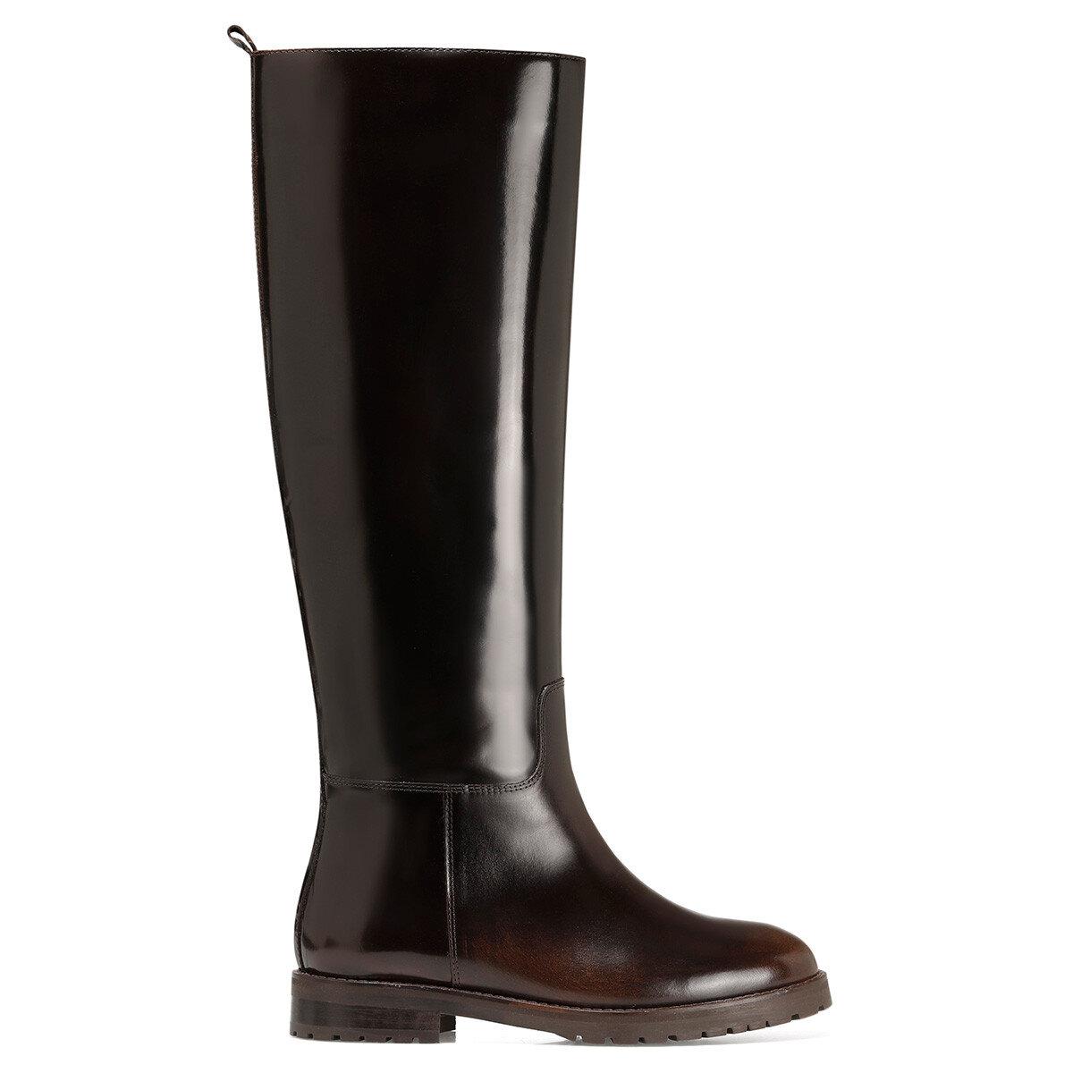 BEGMO Kahverengi Kadın Düz Çizme