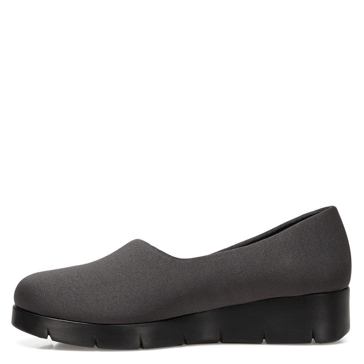FALAW Koyu Gri Kadın Dolgu Topuk Ayakkabı