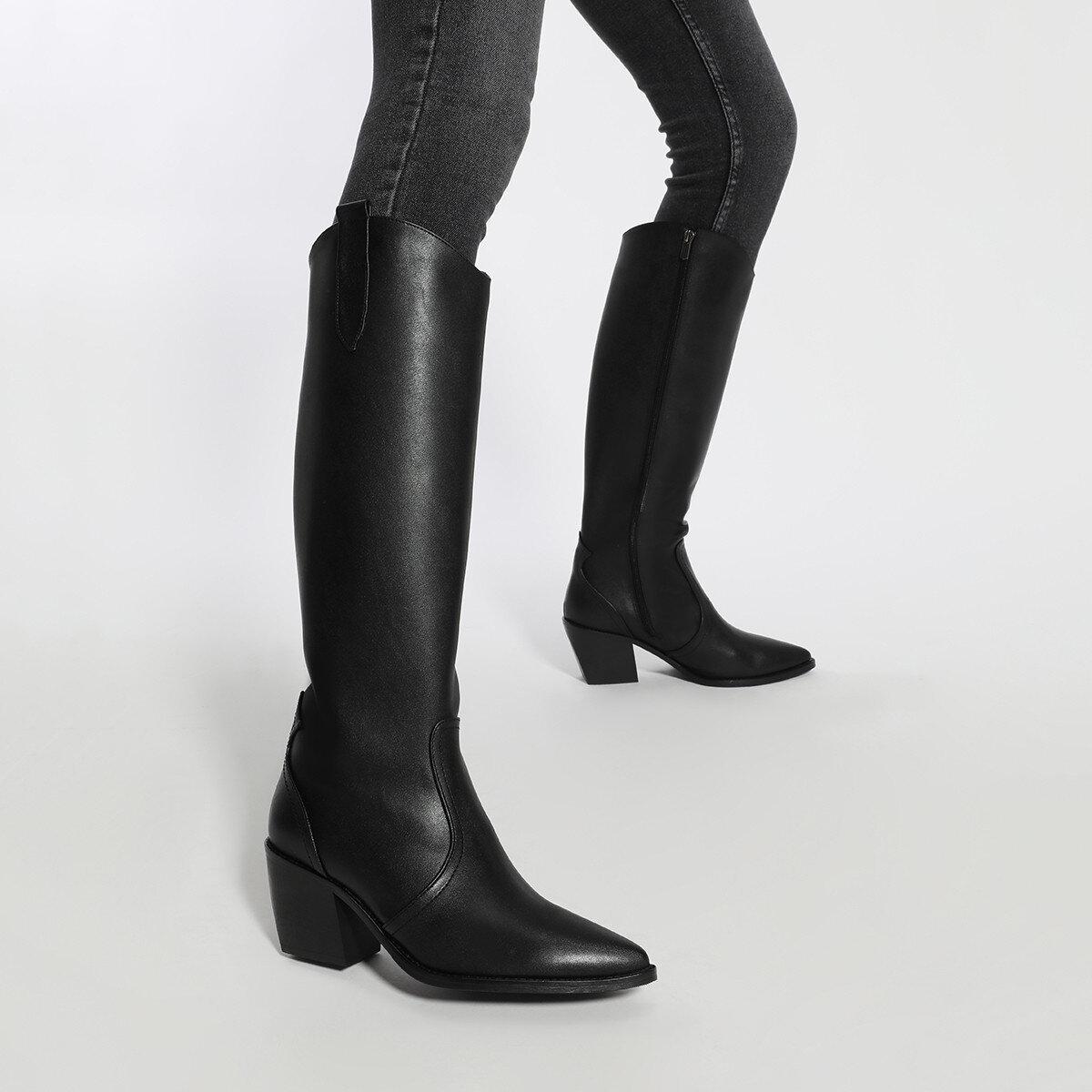 VINCENZA Siyah Kadın Topuklu Çizme
